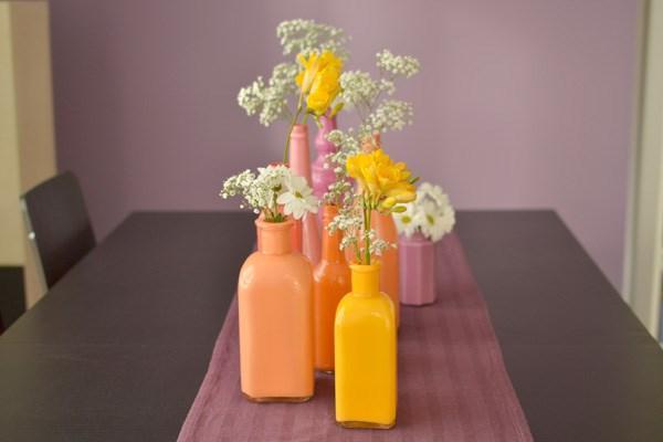 botellas pintadas jarrones